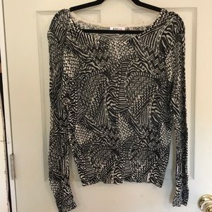 JustFab black and white knit sweater